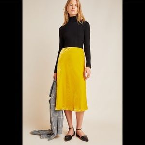 Anthropologie Maeve Kelly Velvet Midi Skirt yellow